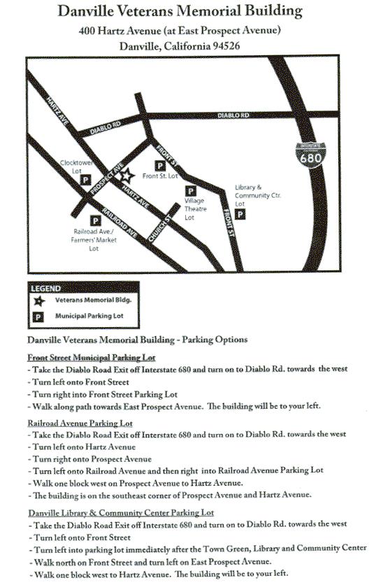 Map for parking near the Danville Senior Center