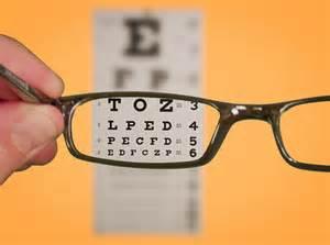 Photo of eye glasses and an eye chart
